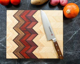 Handmade Wood Cutting Board Cheese Tray • Chevron 3D  Walnut  • Wedding Gift Christmas Gift Cutting Board