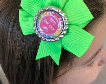 Type One-Der Girl Hair Bow Type One Diabetes Awareness