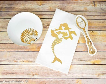 Mermaid Tea Towel Gold Foil Iron On Heat Transfer Vinyl Kitchen Decor