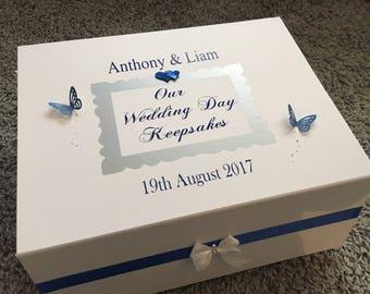 Personalised Wedding day keepsake memories boxes
