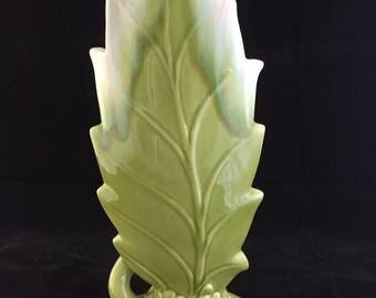 Vintage Royal Haeger Chartreuse Elm Leaf Vase