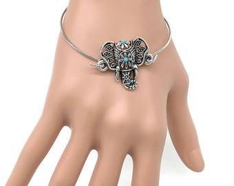 Turquoise Elephant Silver tone Bangle/Bracelet/Cuff