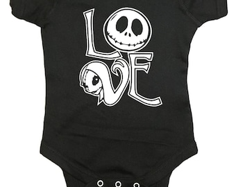 "Nightmare Before Christmas Baby One Peice ""Jack and Sally Love"" Bodysuit"