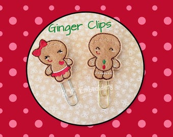 Planner Clips -Gingerbread Girl- Gingerbread Boy--Paper Clips-Planner Accesory- Agenda Clip--Journal Clip-Bookmark-Felt Clips-Christmas Clip