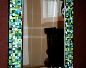 Shades of Green Stained Glass Mosaic Mirror