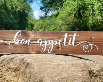 Bon appetit sign, Wedding Gift, Housewarming Gift, kitchen Decor, Birthday Gift, Gift for her, Restaurant decor, Chef gift, Kitchen sign