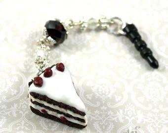 Mobile plug - plug-Smartphone, Black Forest cake, Blackforest, handmade, kawaii, beads, plugs, Kirsch, pendant, charm sweets Deco