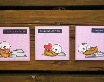 Note Cards, Handmade Greeting Card, Note Cards Set, Mini Cards, Mini Cards Set, Thank a Bunch, Thinking of You, Congrats, Otter cards