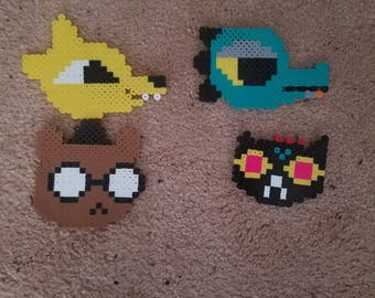 Night in the Woods Mae, Bea, Gregg, And Angus perler bead keychain/magnet