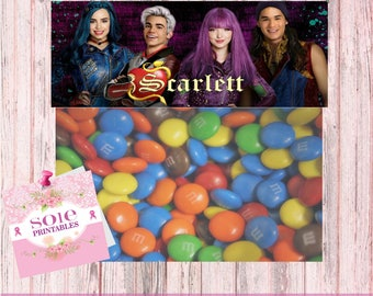 """CANDY BAG TOPPERS (2.5""""X 6.35"""") descendants 2 theme- customized with your child's name!"""