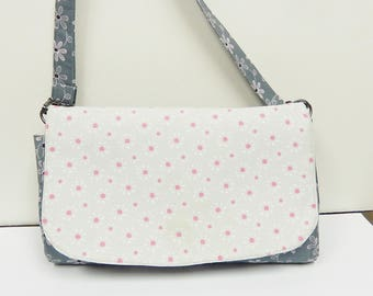 Shoulder bag Magnetic Front Flap closure Divided Zipper Interior Pocket Gray with Pink Flowers