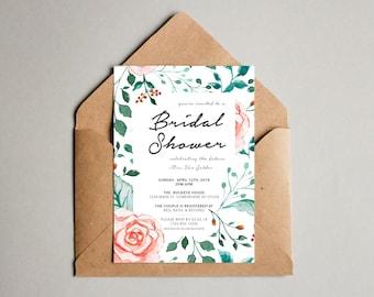 Watercolor Rose Bridal Shower Invitation