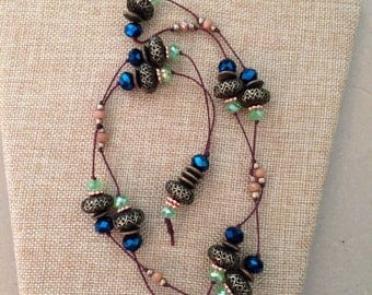 Bronze, blue and green necklace