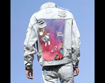 Kanye West Graduation HAND-PAINTED distressed denim jacket