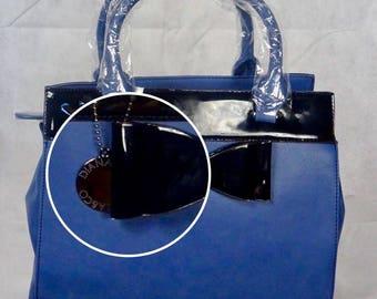 blue bow satchel handbag
