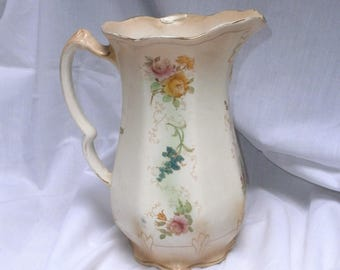 jug/pitcher with floral pattern/antique/Art Nouveau/pottery/Staffordshire/British