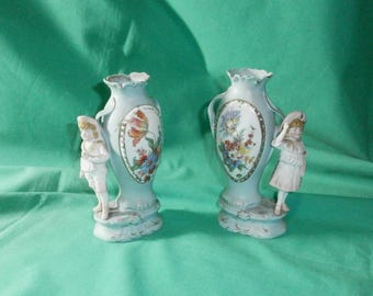 pair of vases with boy and girl/ antique/ bisque/Art Nouveau/German