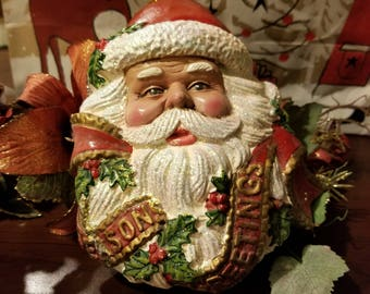 "Large Santa Head Season Greetings Christmas Ornament 6.5"""