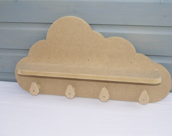 Cloud Shelf with coat hooks - Flat Pack Kit - for Nursery, Bedroom or Playroom