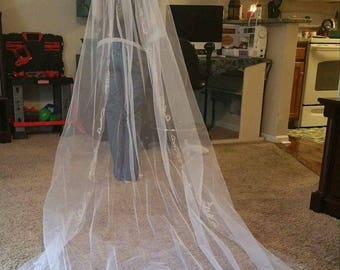 Hand Beaded Cathedral Length Wedding Veil