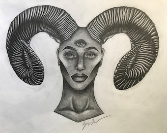 the girl with the ram horns