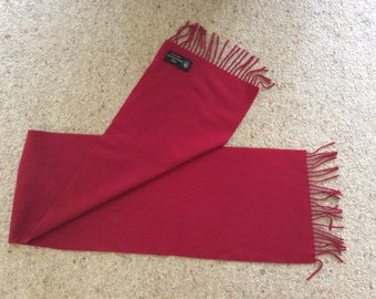 Red lambswool scarf, Vintage, M&S