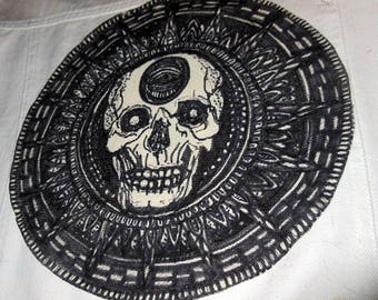 Hand painted skull canvas patch