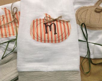Rustic Fall Appliqued/Monogrammed Pumpkin Flour Sack Tea Towel, Personalized