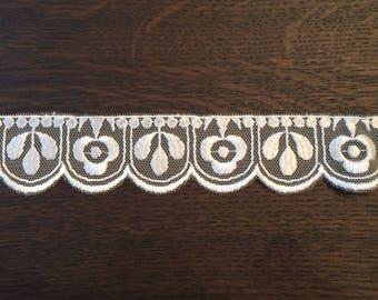 White Lace Embroidered Ribbon by Mokuba