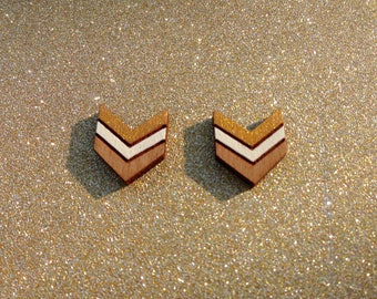 Gold and cream wooden chevron stud earrings - wooden jewelry - wooden jewellery