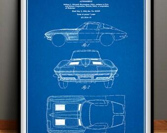 Corvette blueprint etsy 1963 corvette stingray car poster corvette stingray patent corvette stingray blueprint corvette stingray malvernweather Images