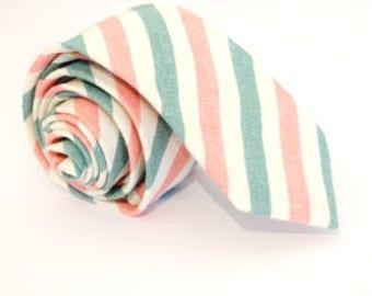 Green and Pink Striped Cotton Necktie, Skinny Tie, Striped Tie, Cotton Tie, Wedding tie, groomsmen tie, groom tie, summer tie