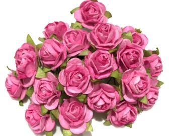 Deep Pink Open Mulberry Paper Roses Or048