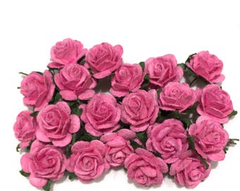 Deep Pink Open Mulberry Paper Roses Or035