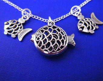 "Antiqued silver charms with 18"" silver plated chain necklace 3D Puffer Fish"