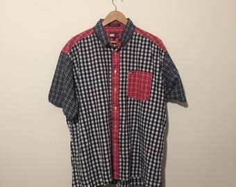 Vintage Tommy Hilfiger Blue and Red Colorblock Multi Plaid Button Down Size XL