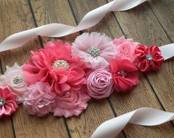 Sash, think pink Sash,shades of pink sash, flower Belt, maternity sash, wedding sash, flower girl sash, maternity sash belt
