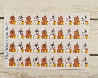 Happy Birthday Planner Stickers, Medium Sized Lucy the Dog, Party, Erin Condren, Happy Planner