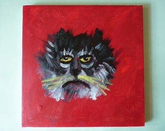 FRADO Melancholy Cat Original Painting on Canvas