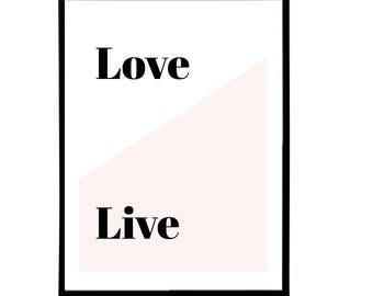 Love / Live art print font typography wall art