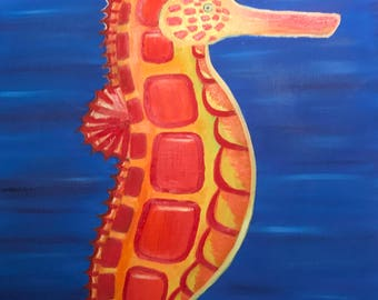 seahorse oil painting