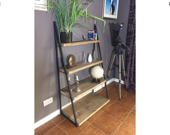 Industrial style shelving unit wood reclaimed vintage upcycled