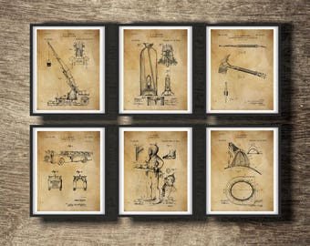 Firefighter Wall Art | Fireman Patent Set of 6 Prints | Firefighter Decor | Fireman Printable | Firefighter Print Gift INSTANT DOWNLOAD