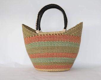 Green/Pink Woven Large Basket Bag