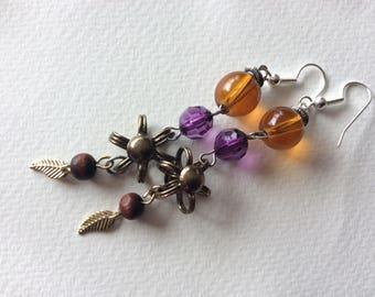 Repurposed Steam punk purple orange earrings\ neo victorian amber amethyst earrings /diesel punk gypsy earrings/victorian carnival earrings/