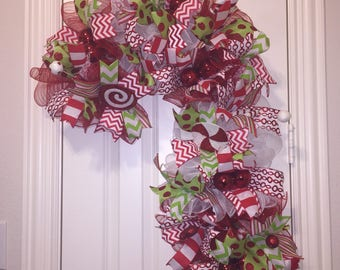 Candy Cane Swag,Front Door Wreath,Candy Cane Hanger,Front Door Decor,Christmas Wreath,Christmas Front Door,Wreath for Front Door,Candy Cane