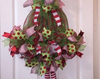 Christmas Wreath,Elf Hat Wreath,Front Door Decor,Christmas Decoration,Christmas Decor,Holiday Wreath,Wreath,Front Door Wreath,Elf Cap Wreath