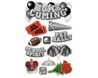 Scrapbook Stickers - Paper House Productions Homecoming Football School Dance Spirit Sports & Activities Dimensional 3d Embellishments