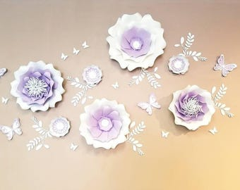 Paper flowers wall decor. Large purple paper flowers wall. Nursery flowers wall. Wedding backdrop. Bridal shower backdrop. Girls room decor.