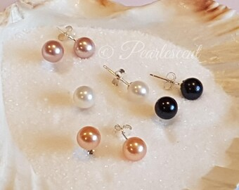 Freshwater pearl studs, 925 sterling silver posts and backs, available in 4 colours, white black pink lavender
